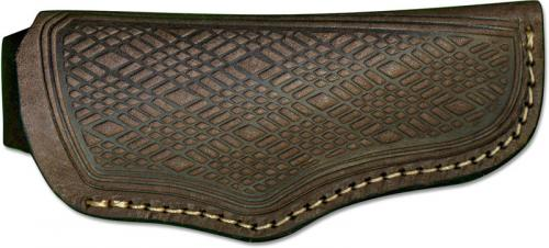 Generic Folding Hunter Sheath - Open Top - Brown Leather with Belt Loop - Fits Boker Folding Hunter