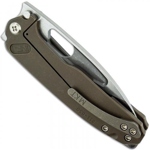 Medford Infraction Knife - Tumble Finish Drop Point - Front Flipper - Bronze Anodized Titanium - Frame Lock Folder - USA Made
