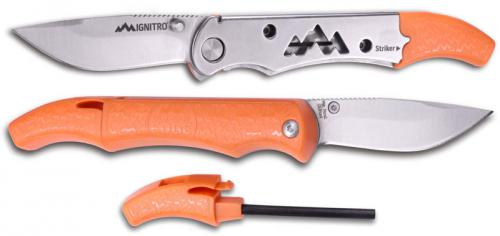 Outdoor Edge Ignitro Survival Knife - Drop Point Blade - Stainless Steel and Orange ABS Handle - Ferro Rod and Whistle - IG-23C