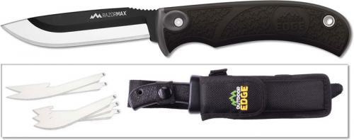 Outdoor Edge RazorMax - RMK-10 - Fixed Blade Hunting Knife Set - Replaceable Blades - Black Handle - Black Sheath