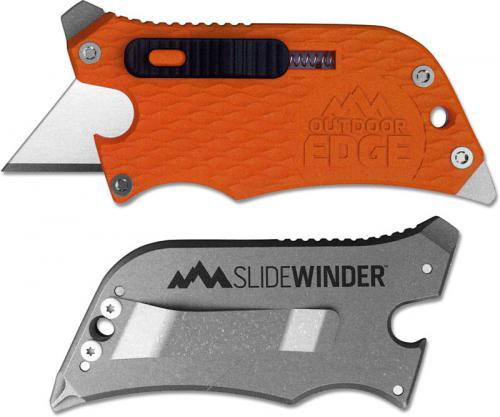 Outdoor Edge SlideWinder - Compact 4 Function Utility Knife Multi Tool - Orange Handle SWB-10C