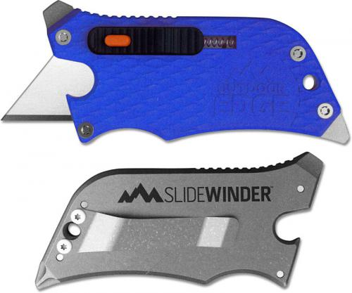 Outdoor Edge SlideWinder - Compact 4 Function Utility Knife Multi Tool - Blue Handle SWU-20C