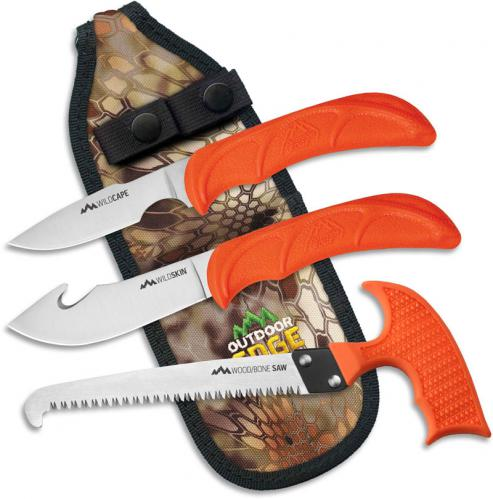 Outdoor Edge WildGuide - Compact 3 Piece Hunting Knife Set - WG-10C
