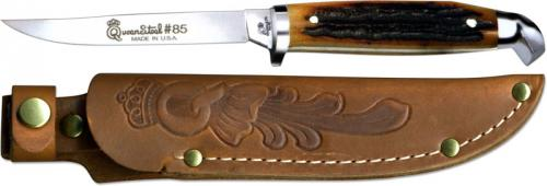 Queen Knives Queen Trout Knife Aged Honey Stag Bone Qn