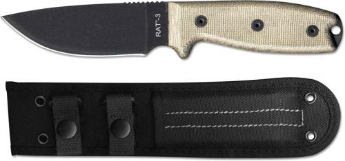 Ontario 8665 RAT-3 EDC Fixed Blade Knife Black 1095 Steel Drop Point Micarta Handle USA Made