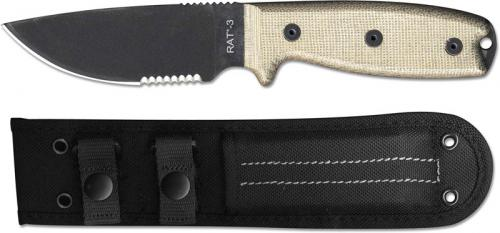 Ontario 8666 RAT-3 EDC Fixed Blade Part Serrated Black 1095 Drop Point Micarta Handle USA Made
