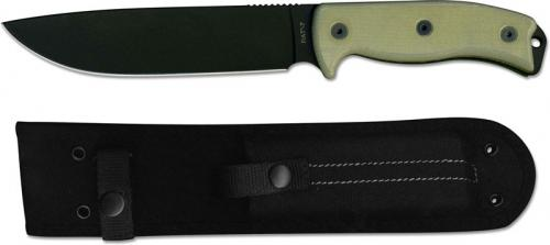 Ontario 8668 RAT-7 Fixed Blade Knife Black 1095 Steel Drop Point Micarta Handle USA Made