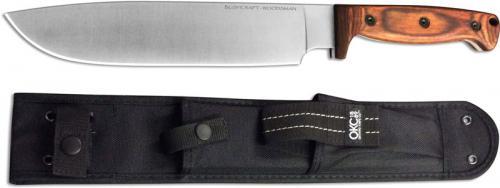 Ontario 8697 Bushcraft Woodsman Knife Drop Point Fixed Blade Hardwood Handle USA Made