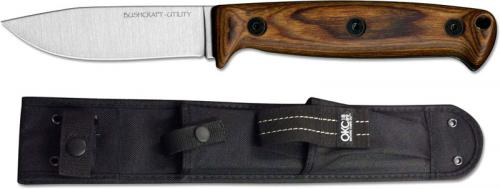 Ontario 8698 Bushcraft Utility Knife Carbon Steel Drop Point Fixed Blade Hardwood Handle USA Made