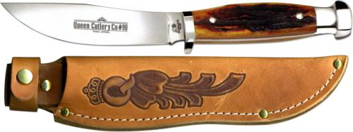 Queen Knives: Queen Skinner Knife, Aged Honey Stag Bone, QN-98ACSB