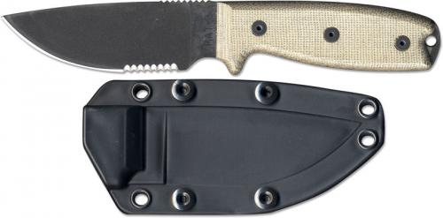 Ontario Knives: Ontario RAT-3 Knife, Serrated with Black Sheath, QN-RAT3SB