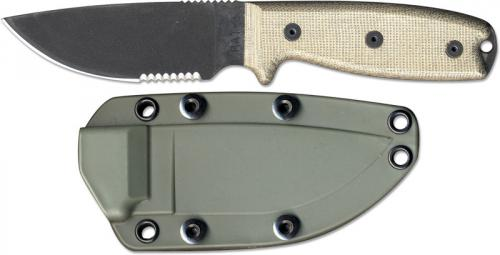 Ontario Rat 5 Sheath: Ontario Knives: Ontario RAT-3 Knife, Serrated With Green