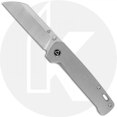 QSP Penguin Knife QS130-P - 2 Tone Satin 154CM Sheepfoot - Bead Blast Stonewash Titanium - Frame Lock Folder