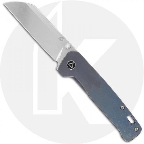 QSP Penguin Knife QS130-R - Stonewash 154CM Sheepfoot - Blue Stonewash Titanium - Frame Lock Folder