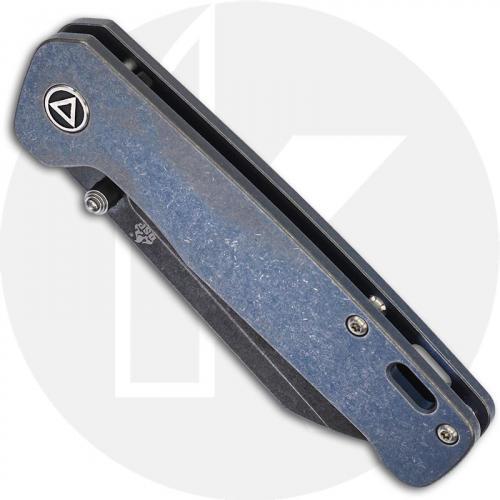 QSP Penguin Knife QS130-S - Black Stonewash 154CM Sheepfoot - Blue Stonewash Titanium - Frame Lock Folder