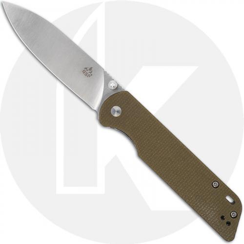 QSP Parrot Knife QS102-G - Satin D2 Spear Point - Light Green Linen Micarta - Liner Lock Folder