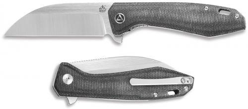 QSP Pelican Knife QS118-D2 - 2 Tone Satin S35VN Sheepfoot - Black Micarta - Liner Lock Flipper Folder