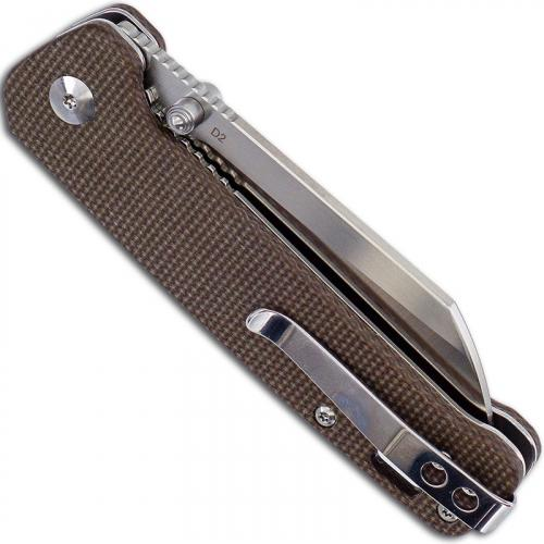 QSP Penguin Knife QS130-A - 2 Tone Satin D2 Sheepfoot - Linen Micarta - Liner Lock Folder