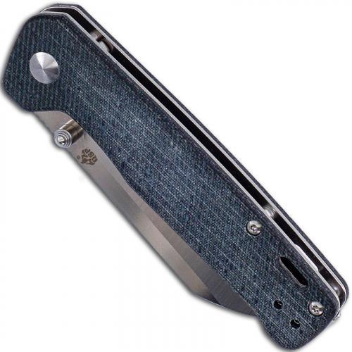 QSP Penguin Knife QS130-B - 2 Tone Satin D2 Sheepfoot - Jean Micarta - Liner Lock Folder