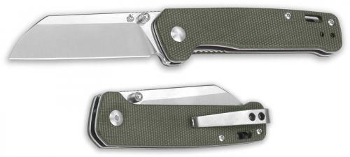 QSP Penguin Knife QS130-C - 2 Tone Satin D2 Sheepfoot - OD Linen Micarta - Liner Lock Folder