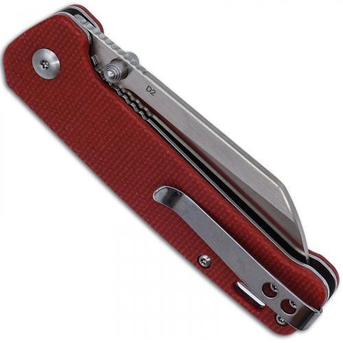 QSP Penguin Knife QS130-D - 2 Tone Satin D2 Sheepfoot - Red Linen Micarta - Liner Lock Folder