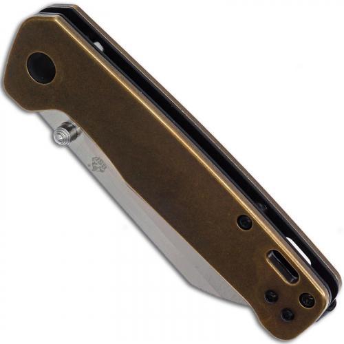 QSP Penguin Knife QS130-F - 2 Tone Satin D2 Sheepfoot - Brass Handle - Liner Lock Folder