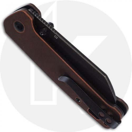 QSP Penguin Knife QS130-L - Black Stonewash D2 Sheepfoot - Stonewash Copper - Liner Lock Folder