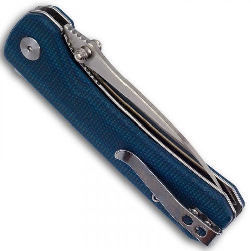 QSP Hawk Knife QS131-I - Two Tone Satin 14C28N Drop Point - Blue Micarta - Liner Lock Flipper Folder