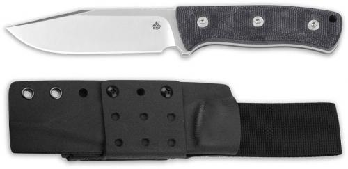 QSP Bison Knife QS134-A - Satin D2 Clip Point Fixed Blade - Black Micarta - Kydex Sheath