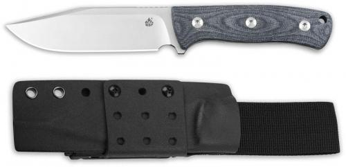 QSP Bison Knife QS134-B - Satin D2 Clip Point Fixed Blade - Denim Jean Micarta - Kydex Sheath