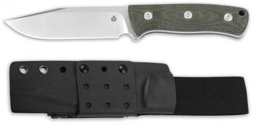 QSP Bison Knife QS134-C - Satin D2 Clip Point Fixed Blade - Green Micarta - Kydex Sheath