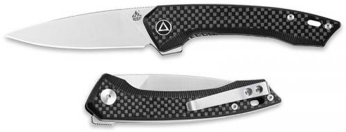 QSP Leopard Knife QS135-A - Satin 14C28N Drop Point - Black G10 / Carbon Fiber - Liner Lock Flipper Folder