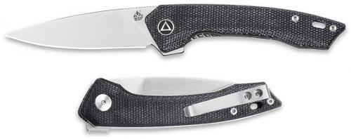 QSP Leopard Knife QS135-B - Satin 14C28N Drop Point - Black Micarta - Liner Lock Flipper Folder