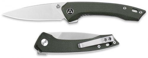 QSP Leopard Knife QS135-C - Satin 14C28N Drop Point - Green Micarta - Liner Lock Flipper Folder