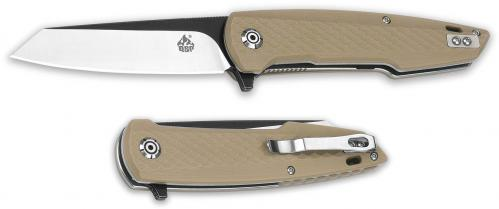 QSP Phoenix Knife QS108-A - Black / Satin D2 Reverse Tanto - Tan G10 - Liner Lock Flipper Folder