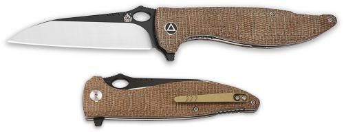 QSP Locust Knife QS117-A - Black / Satin VG-10 Wharncliffe - Brown Micarta - Liner Lock Flipper Folder
