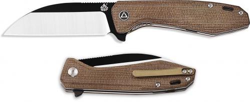 QSP Pelican Knife QS118-A - Black / Satin S35VN Sheepfoot - Brown Micarta - Liner Lock Flipper Folder