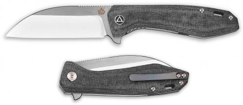 QSP Pelican Knife QS118-C - 2 Tone Satin S35VN Sheepfoot - Black Micarta - Liner Lock Flipper Folder