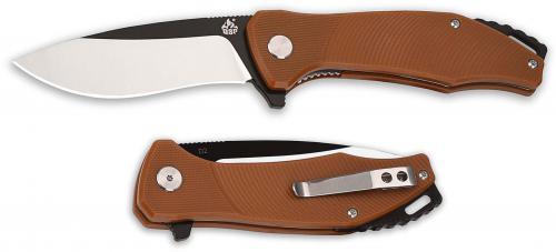 QSP Raven Knife QS122-A - Black / Satin D2 Drop Point - Burnt Orange G10 - Liner Lock Flipper Folder
