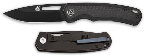 QSP Puffin Knife QS127-A - Black Ti S35VN Drop Point - Black Titanium and Carbon Fiber - Frame Lock Folder