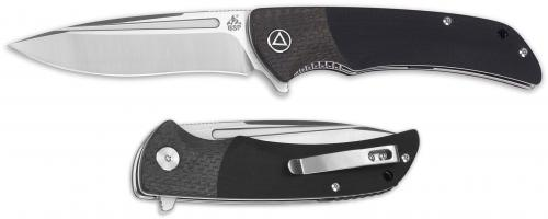 QSP Harpyie Knife QS129-B - 2 Tone Satin S35VN Drop Point - Black G10 and Carbon Fiber - Liner Lock Flipper Folder