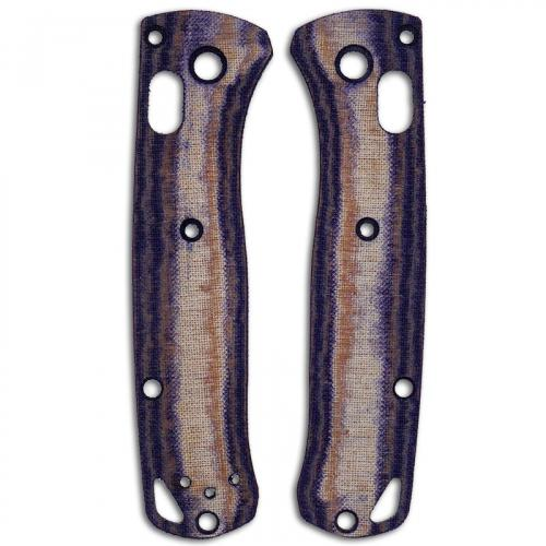 RC BladeWorks Custom Micarta Scales for Benchmade Mini Bugout Knife - Blue / Natural - USA Made