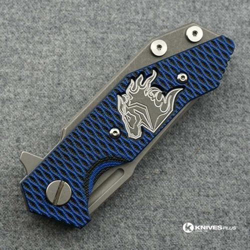 Hinderer Knives Half Track Spearpoint Knife - Working Finish - Horse Engraved w/Textured Lockside - Blue/Black G10 Cutout