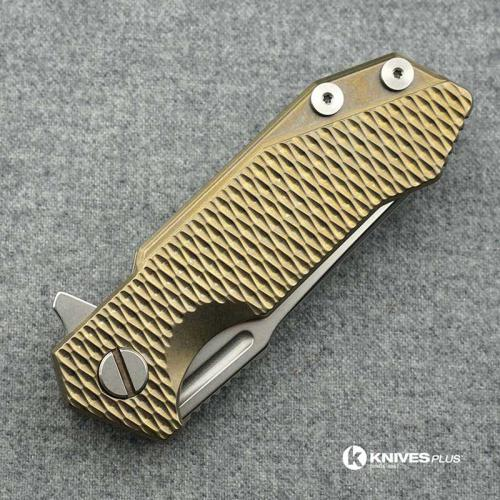 Hinderer Knives Titanium Half Track Spearpoint Knife - Stonewash - Bronze Ano w/Textured Lockside
