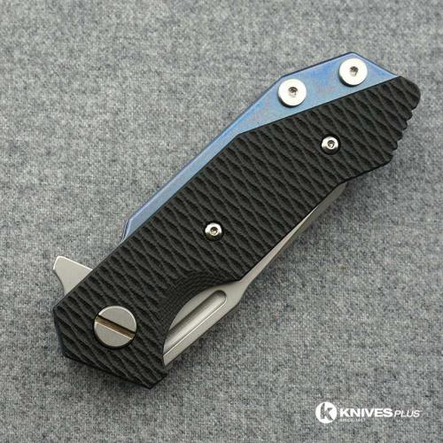 Hinderer Knives Half Track Tanto Knife - Stonewash - Blue Ano w/Smooth Lockside - Black G10 Handle