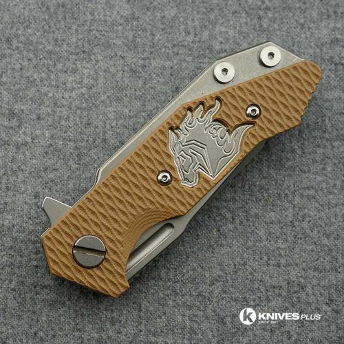 Hinderer Knives Half Track Tanto Knife - Stonewash Finish - Horse Engraved w/Smooth Lockside - Coyote G10 Cutout