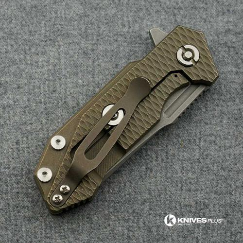 Hinderer Knives Half Track Spearpoint Knife - Battle Bronze Ano - Working Finish - Horse Engraved w/Textured Lockside - Blue/Bla