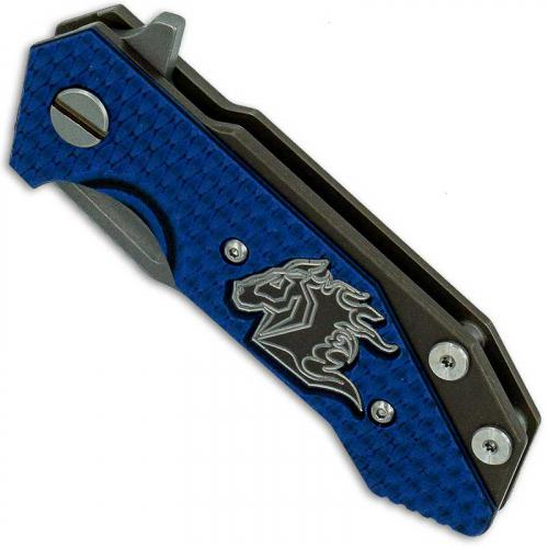 Hinderer Knives Half Track Spearpoint Knife - Battle Bronze Ano - Working Finish - Horse Engraved w/Textured Lockside - Blue/Bla