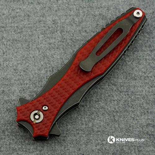 Hinderer Knives Maximus Dagger Knife - Battle Black DLC - Red G10 Handle
