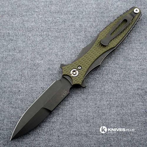 Hinderer Knives Maximus Bayonet Grind Knife - Battle Black DLC - OD Green G10 Handle